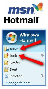 Hotmail menu